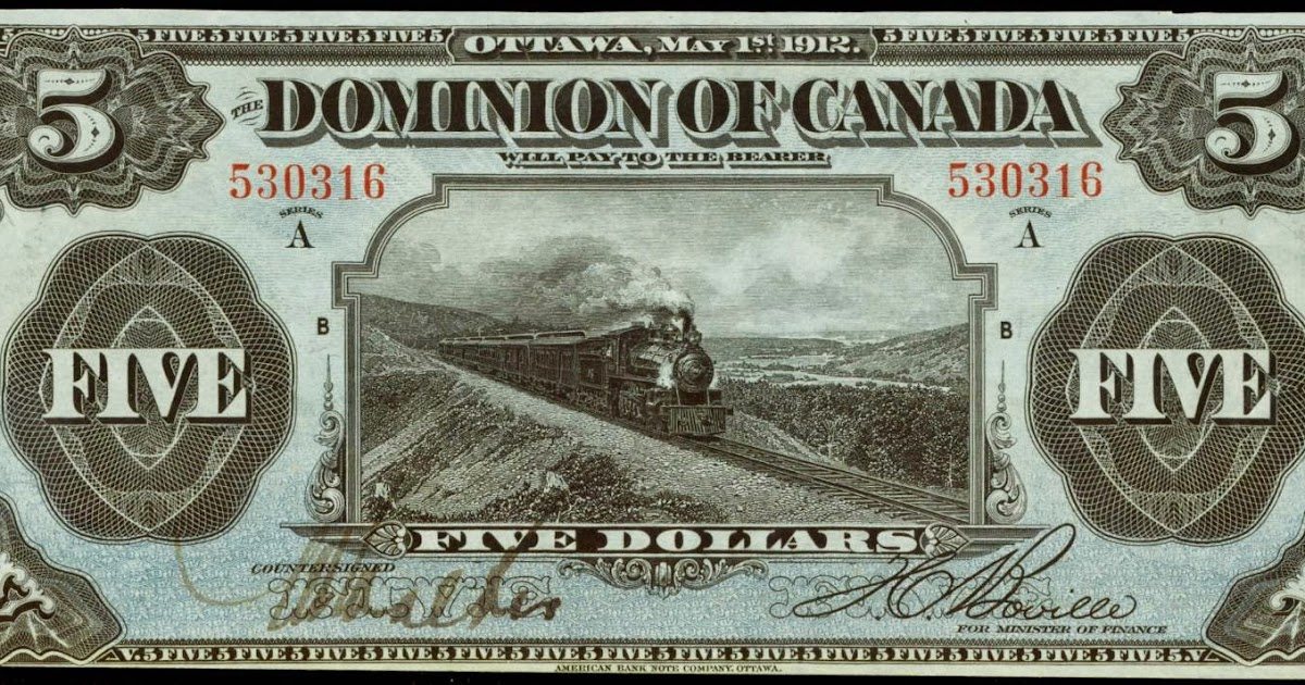 Dominion Of Canada 5 Dollars 1912 Train Note World