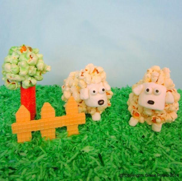 http://grasspotato.wordpress.com/2014/02/16/how-to-make-lamb-figurines-with-caramel-popcorn-balls/
