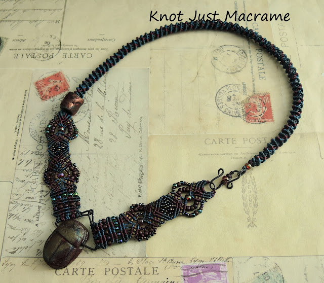 Raku scarab and knotted micro macrame necklace by Sherri Stokey