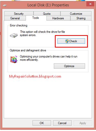 reparasi bad sector menggunakan fitur windows