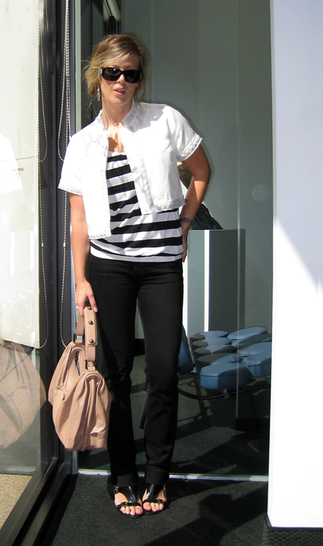 black and white striped shirt with black jeans