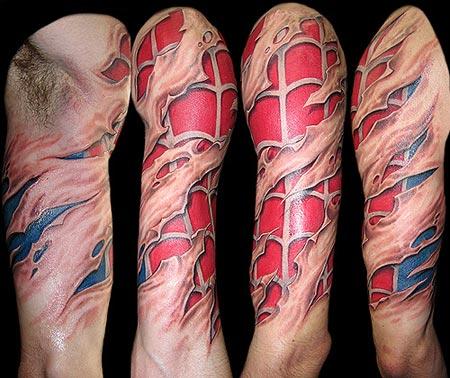 Spiderman chest tattoo for Spiderman tattoo arm
