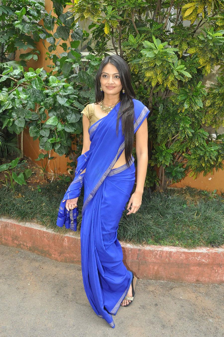 hot Nikitha narayana in blue designer saree latest photos at national silk expo