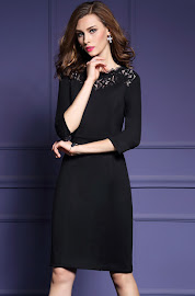 New 2016 Three Quarter Sleeve Black Lace Collar and Side Sleeve OL Dress