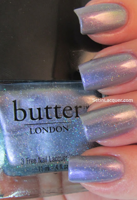 Base coat of Misa Russian Sage with Butter London Knackered as a top coat.
