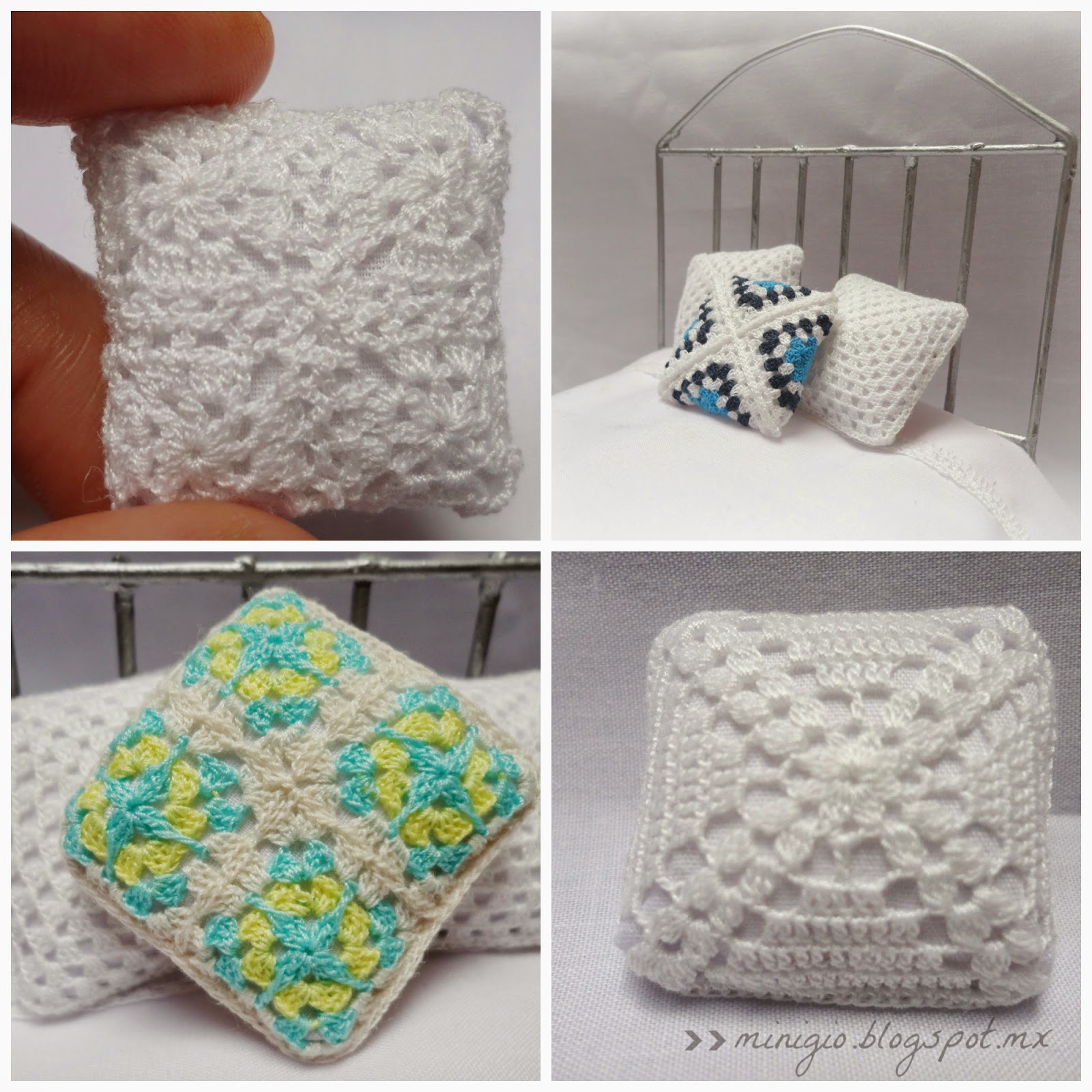 miniature, crochet, dollhouse, pillow, cushion