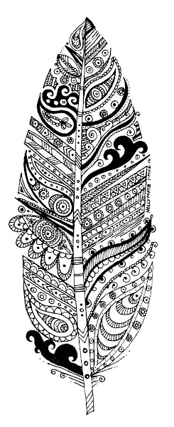 Zentangles Black and White Feathers