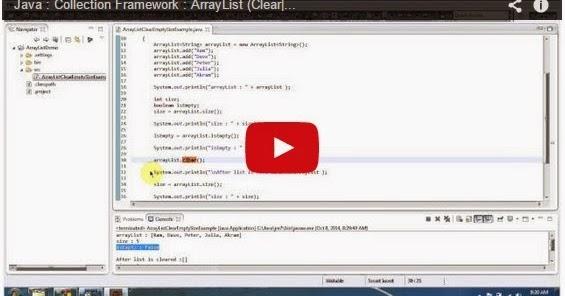 Java ee java collection framework arraylist clear for Pool design pattern java