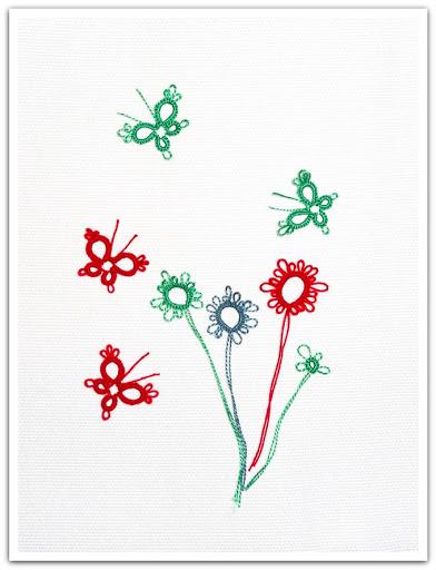 Fjärilar och blommor, frivolitetspyssel