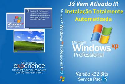 Windows XP SP3 PT-BR - Totalmente Automatizado e Ativado 2014 DVD Capa