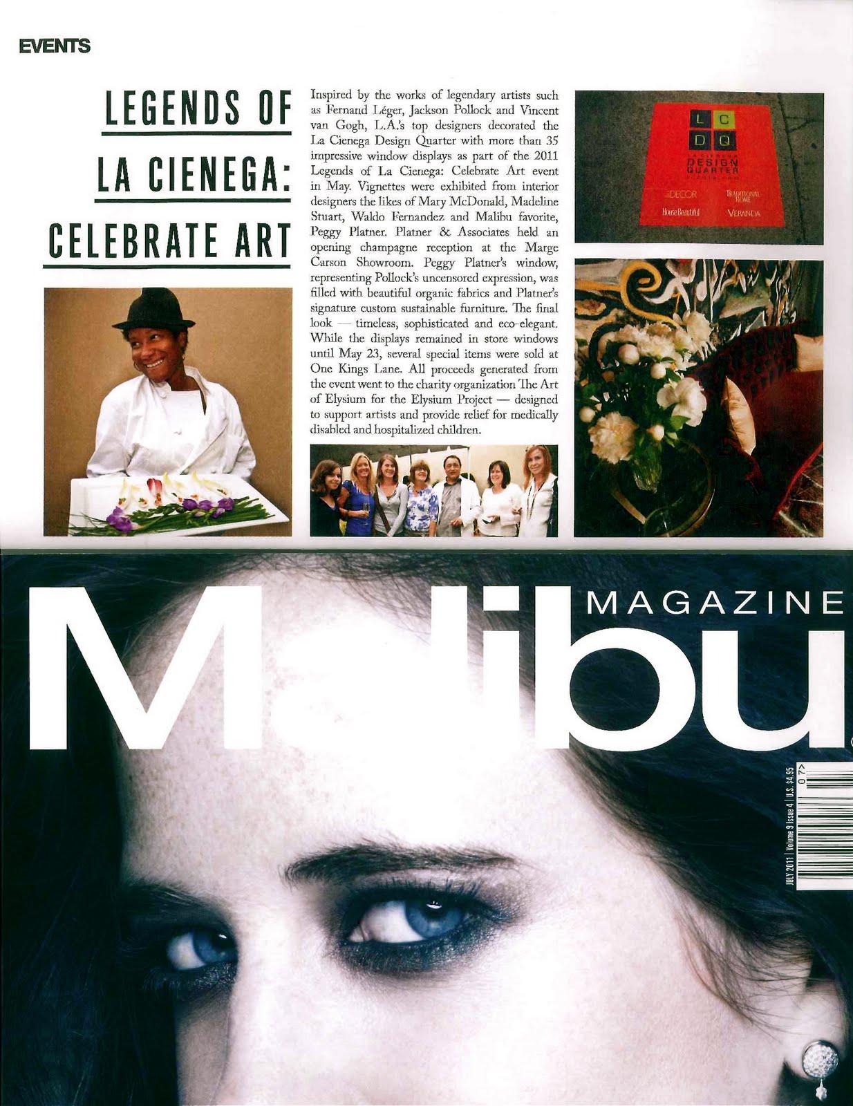 MALIBU MAGAZINE COVERS PEGGY PLATNERS LCDQCELEBRATE ART EVENT Jun 10 Tags Los Angeles Interior Design