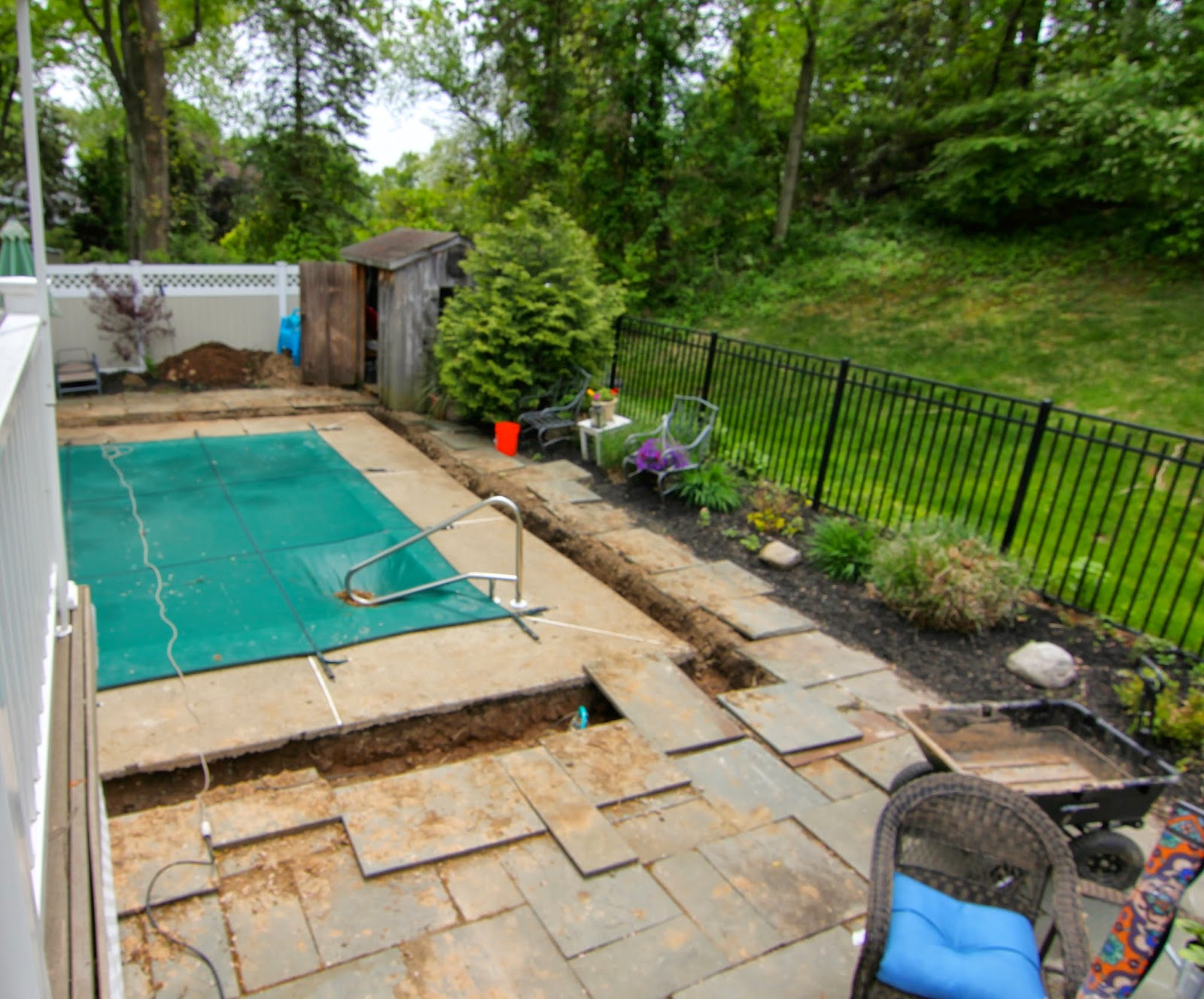 french drains around in ground pool-www.goldenboysandme.com