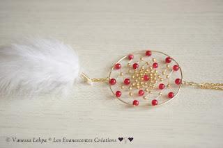 collier jade rouge plume blanche bijoux poetiques