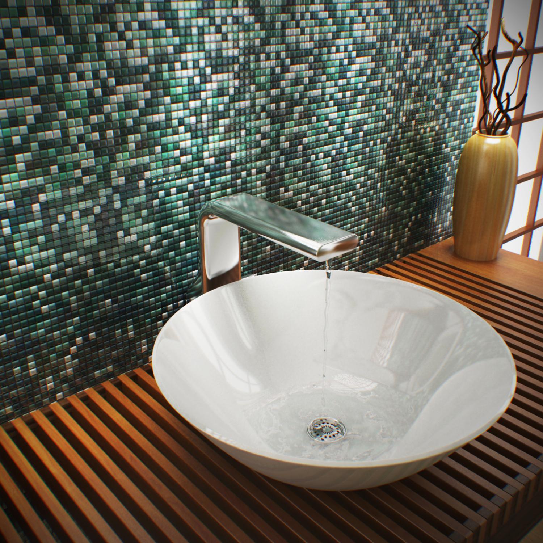 Banheiro 3D com pastilha de vidro e porcelanato Projetos e produtos  #A0602B 1500 1500