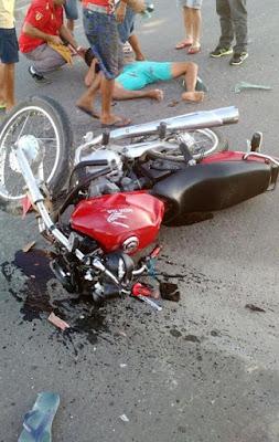 Motociclista fica ferido em colisão com caminhonete em Acopiara