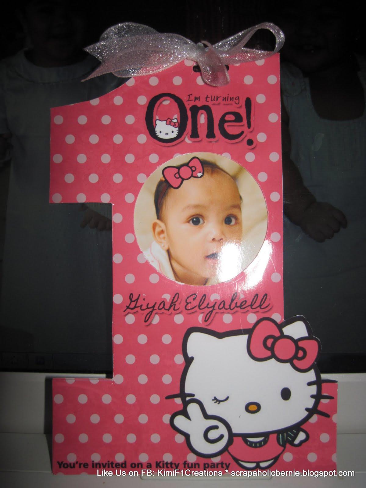 Hello Kitty 1st Birthday Invitations