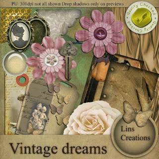 "Free scrapbook kit ""Vintage Dreams""  from Lins Creations"
