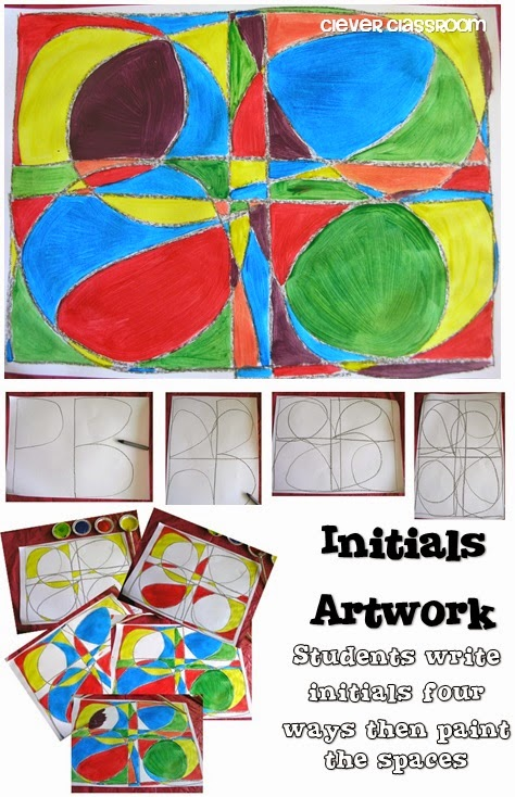 Initials Artwork via Clever Classroom's blog