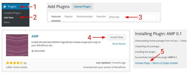 Install the AMP-WP plugin