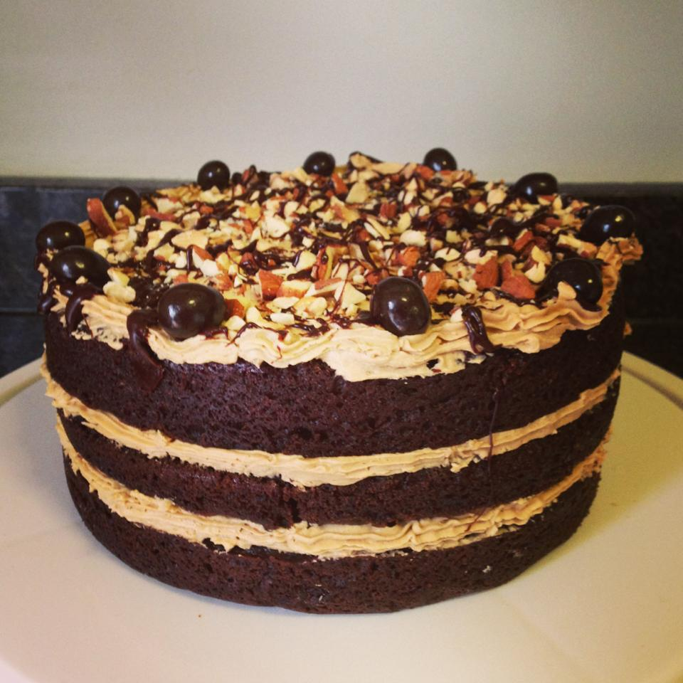 Chocolate Layer Cake With Mocha Frosting And Almonds Recipe ...