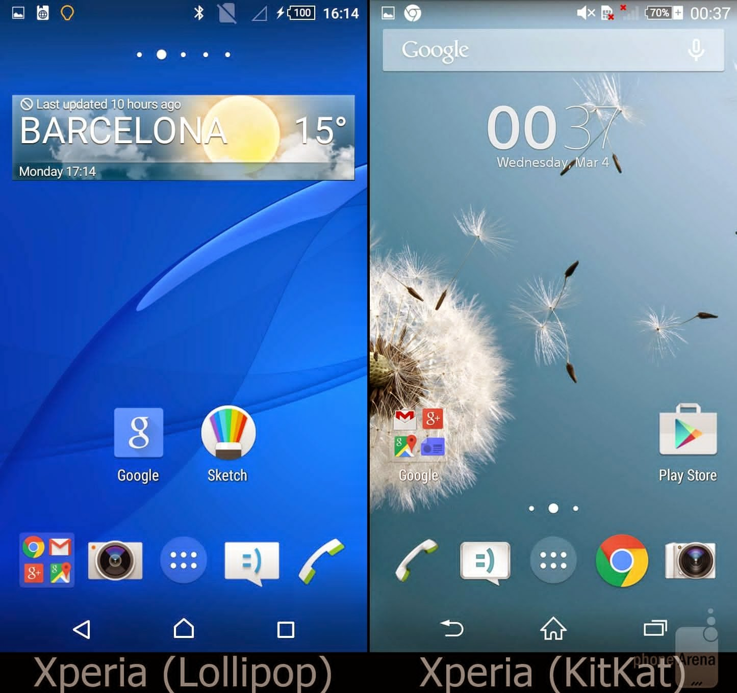 Sony Xperia Lollipop vs Kitkat
