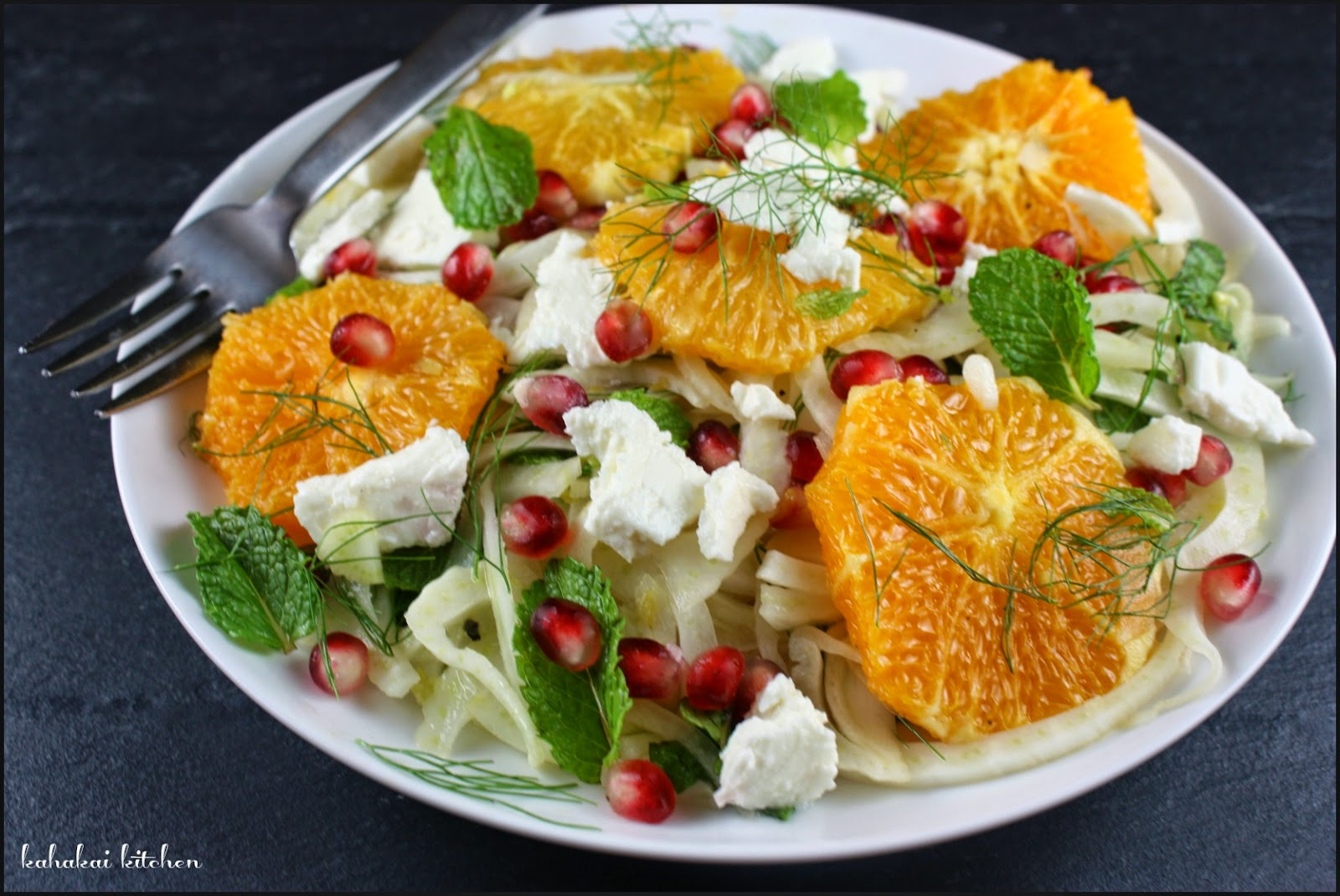 orange fennel salad with pomegranate feta served with a simple grilled salmon - Ina Garten Fennel Salad