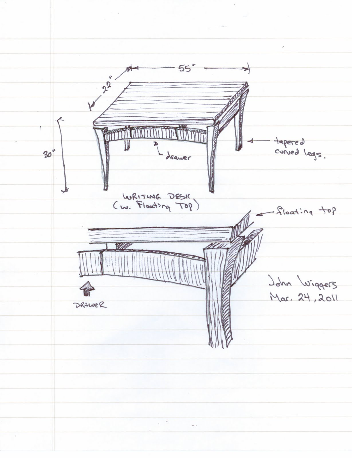 Musings of a furniture maker custom writing desk part