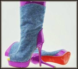 purple heel denim boot