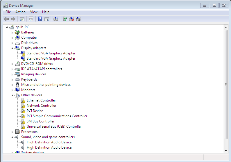 screenshot device manager sebelum instal driver