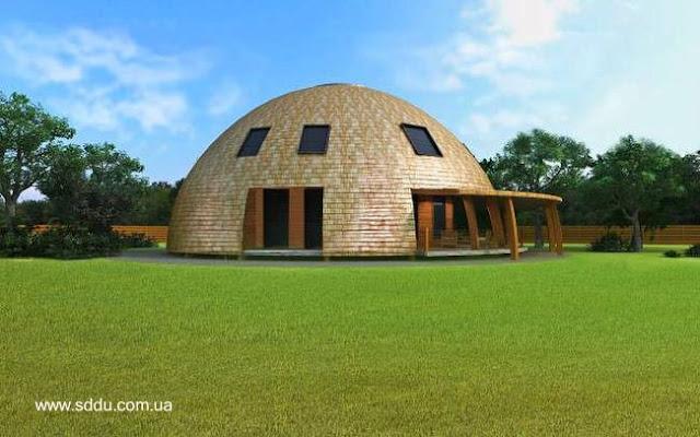 Casa de diseño domo en el campo en Ucrania