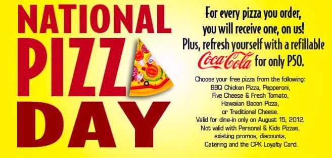Manila Shopper: CPK's National Pizza Day - Buy1 Get1 Pizza Aug 15 2012
