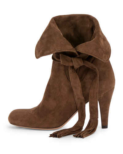 Chloe Brown slouchy heeled ankle boots with tie and tassel