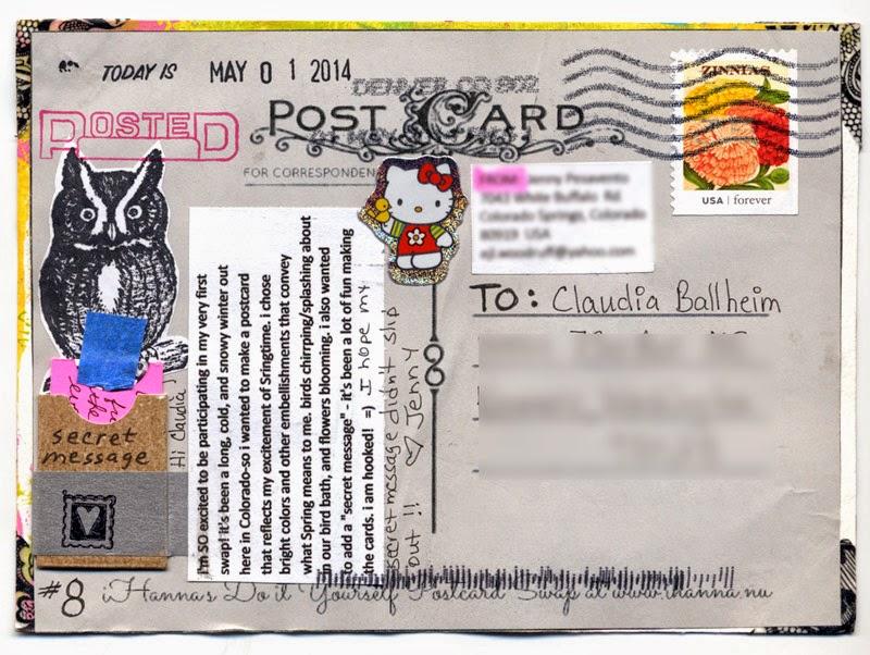 postcard received in iHanna postcard swap