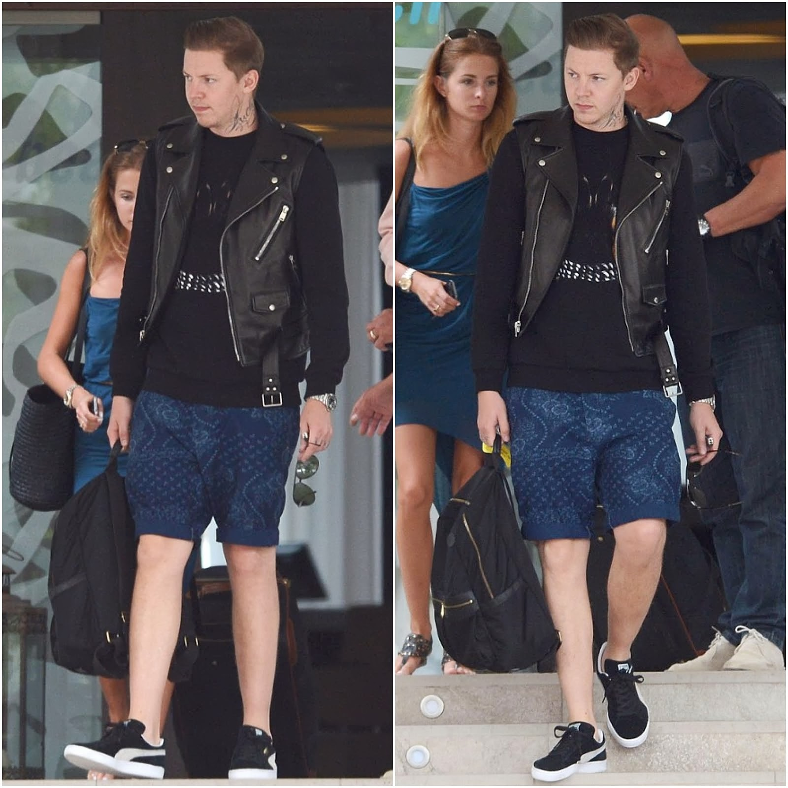 00O00 Menswear Blog: Professor Green's Givenchy Doberman Sweater, Mulberry Henry bag and Puma sneakers, Ibiza July 2013