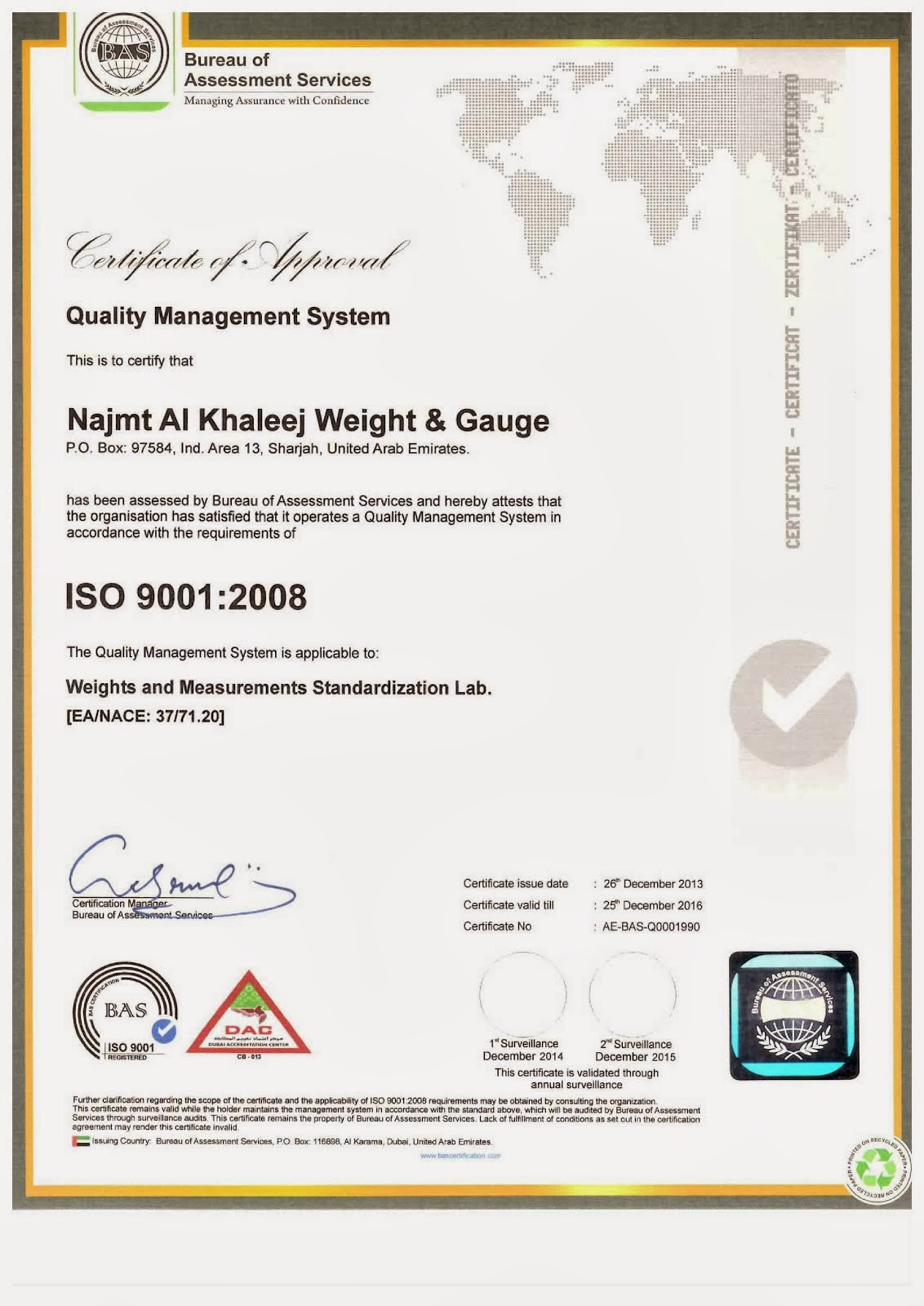 our Certification ISO9001-2008