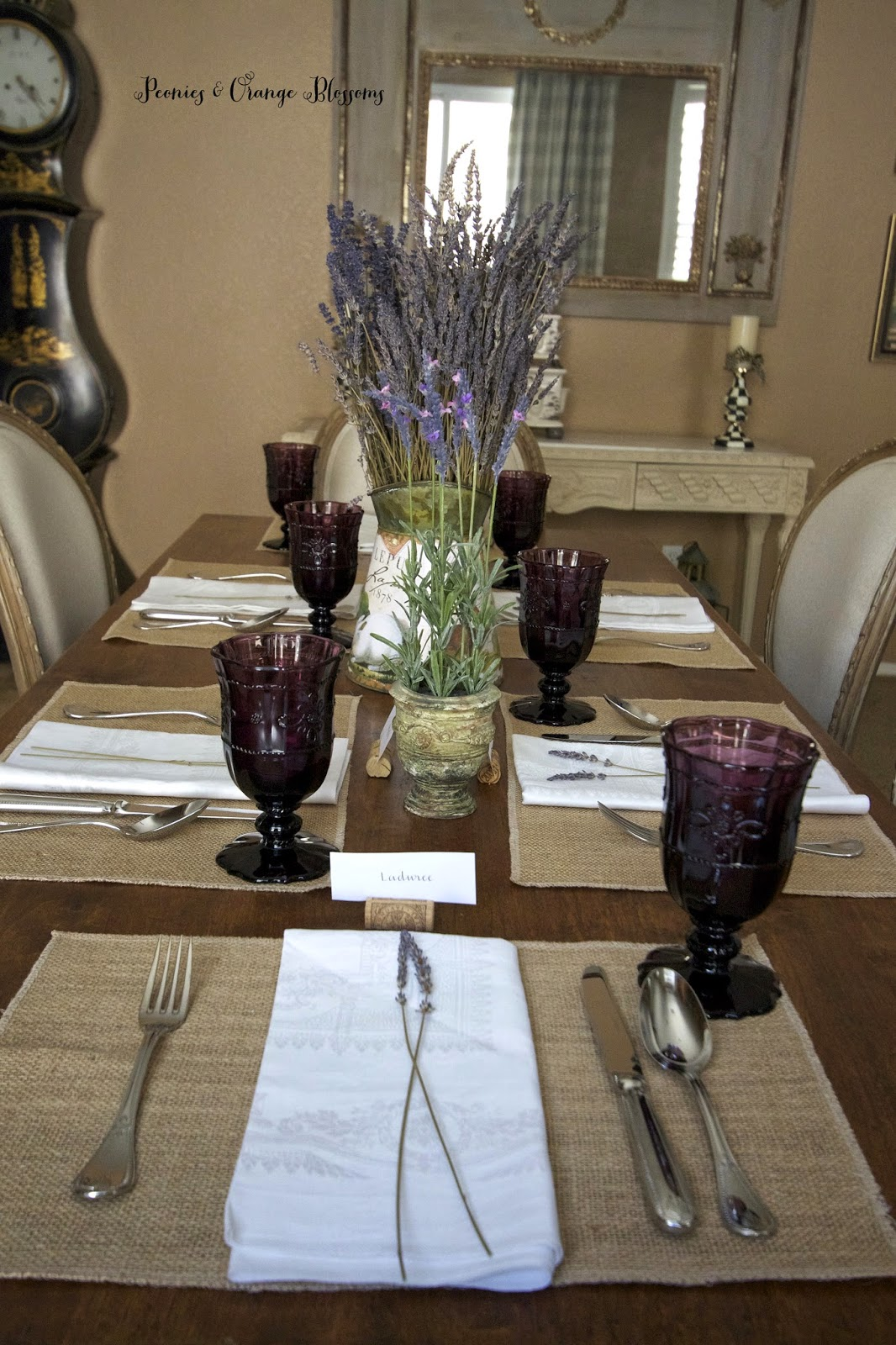 Lavender French Country table with burlap dried lavender purple goblets - Peonies and Orange & Lavender French Country Table Setting - Petite Haus