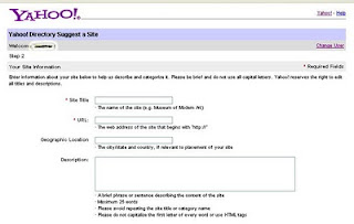 Step three Submit URL to Yahoo Directory