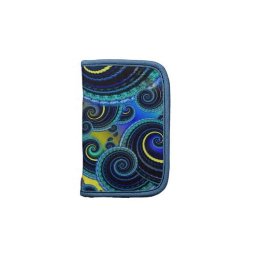Funky Turquoise and Yellow Swirl Pattern Folio Planner