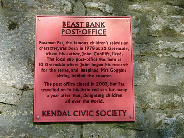 Sign, Kendal Civic Society, Postman Pat's Post Office, Beast Banks