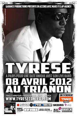 Agenda// Tyrese en concert exceptionel à Paris le 8 avril 2012