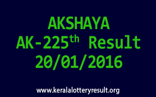 AKSHAYA AK 225 Lottery Result 20-01-2016