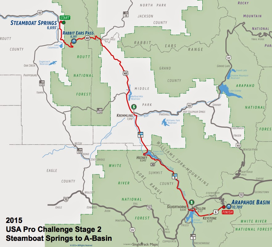 USA Pro Challenge Stage 2 route map 2015