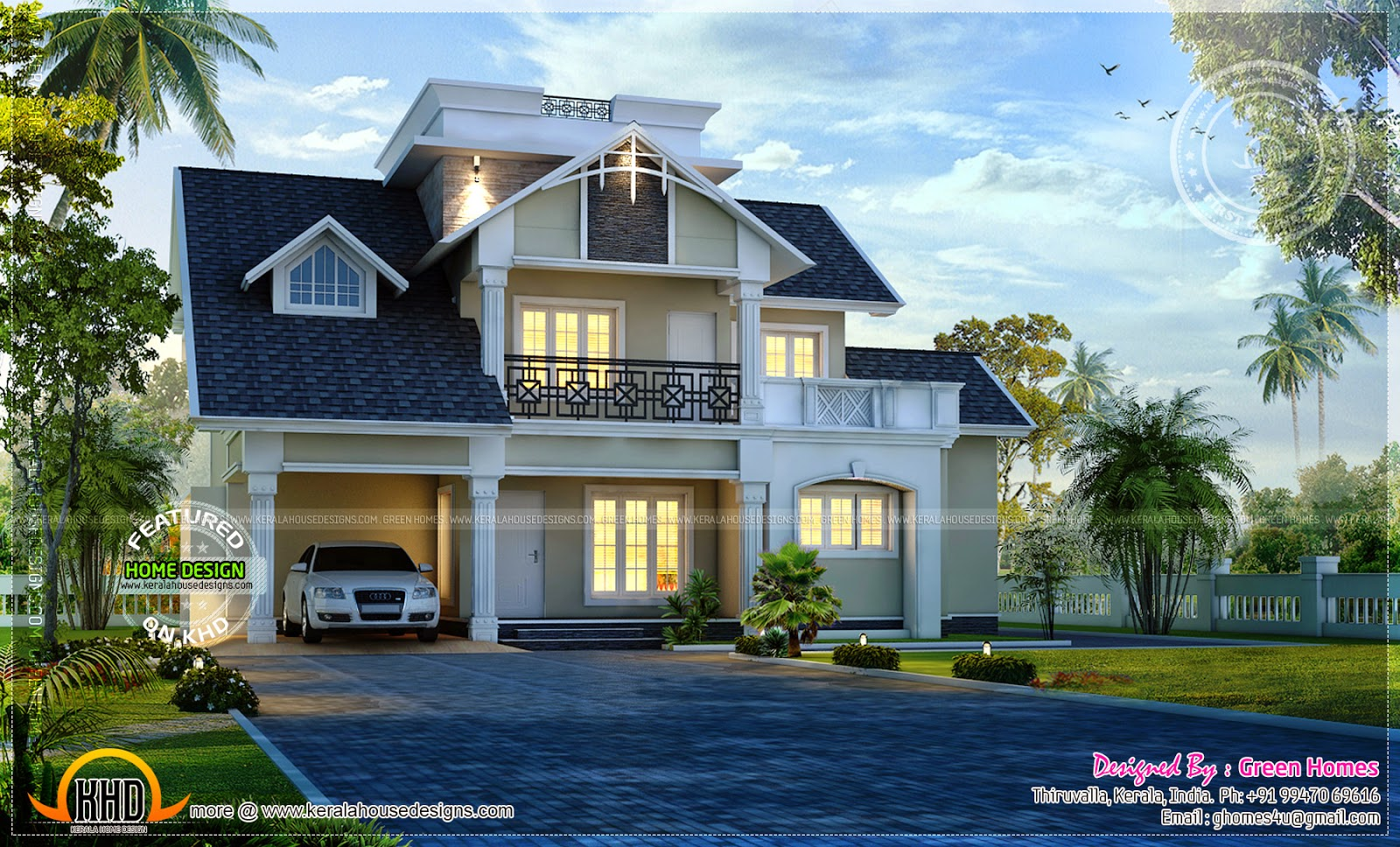 Awesome modern house exterior kerala home design and for Exterior house design for small spaces