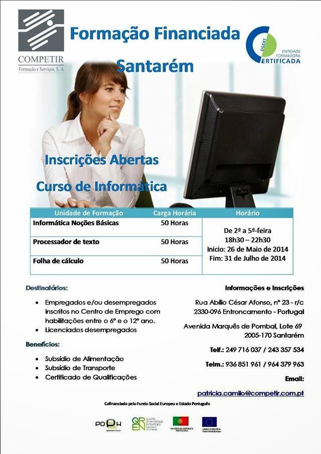 Cursos subsidiados em Santarém (também são aceites licenciados desempregados)