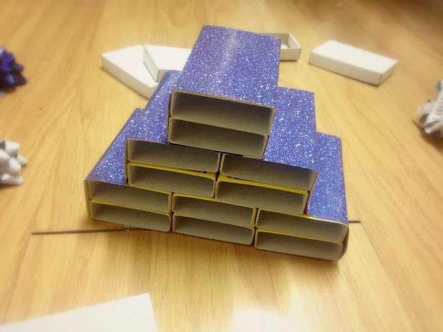 Step 3 - Cover the matchboxes in festive paper