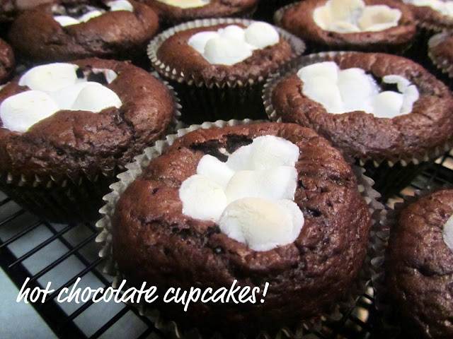 Hot Chocolate Cupcakes With Caramel Kissed Centers