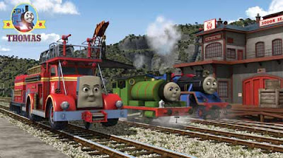 DVD movie day of the diesels Thomas the train Percy the small engine and Flynn the fire engine truck
