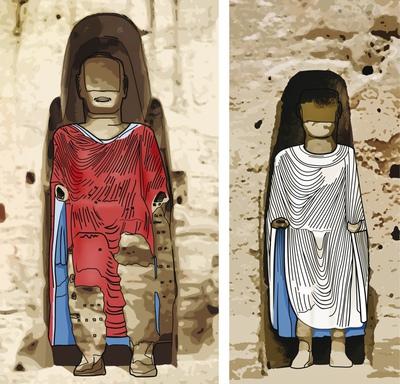 Ilustración de los dos budas de Bamiyan ...