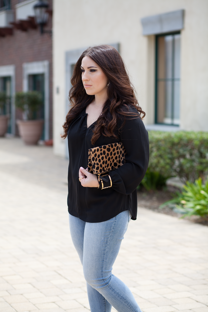 clare v. leopard clutch, bellatrix blouse, loft denim