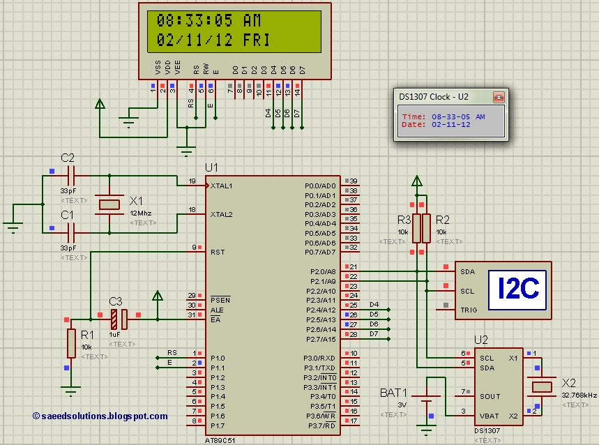 interfacing of 8051 with ds1307 (rtc) code proteus simulationinterfacing ds1307 rtc with 8051